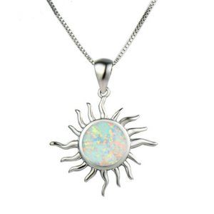 NWOT Unique Fire Opalite Solar Necklace